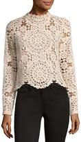 Miss Chievous Long Sleeve High Neck Crochet Blouse-Juniors
