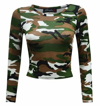 New Girl Fashions New Womens Ladies Sexy Celebrity Inspired Slim Fit Skinny Crew Round Neck Full Long Sleeve Leopard Camouflage Skull Rose Tartan Print Party Club Night Out Wear Short Crop Top Vest Size 8 10 12 14