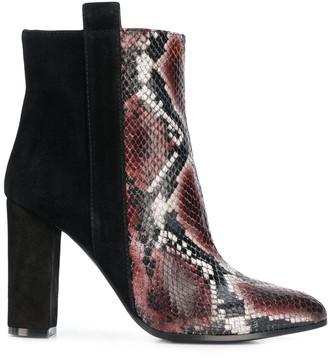 Via Roma 15 Snakeskin-Effect Panelled Boots