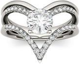 1 CT TW DEW Forever Brilliant Round-Cut Moissanite 14K White Gold Chevron Ring