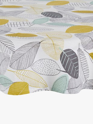 John Lewis & Partners Scandi Leaves Round Wipeable Tablecloth, Dia.180cm
