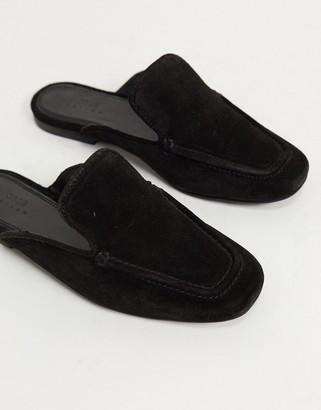ASOS DESIGN Marigold suede flat mules in black