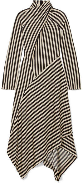Petar Petrov Dasha Striped Stretch-jersey Turtleneck Midi Dress - Black