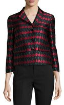 RED Valentino Cherry-Print Button-Front Jacket, Black