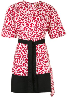 No.21 leopard-print belted T-shirt dress
