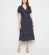 New Look Influence Spot Ruffle Puff Sleeve Midi Dress