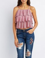 Charlotte Russe Tiered Ruffle-Trim Tank Top