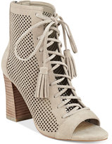 Marc Fisher Shaini Perforated Lace-Up Peep-Toe Booties