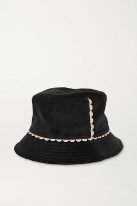 Maison Michel Jason Scalloped Cotton-corduroy Bucket Hat - Black