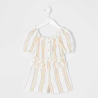 River Island Mini girls Beige stripe frill waist playsuit