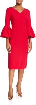 Carolina Herrera Open V-Neck Bell-Sleeve Dress