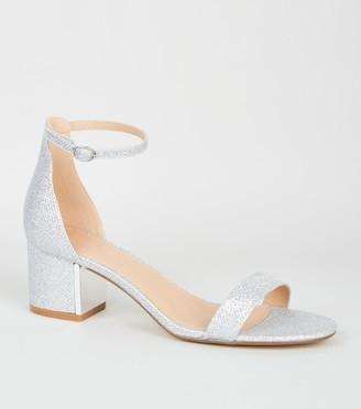 New Look Glitter Low Block Heel Sandals