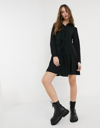 New Look tie waist tiered shirt dress in black