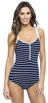 Nautica Women's Classic Stripe Soft-Zip One-Piece Swimsuit