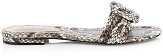 Alexandre Birman Vicky Knotted Flat Python Sandals