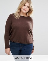 Asos Cropped Sweater With Rolled Edge In Fluffy Yarn