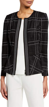 Misook Windowpane Zip-Front Peplum Jacket