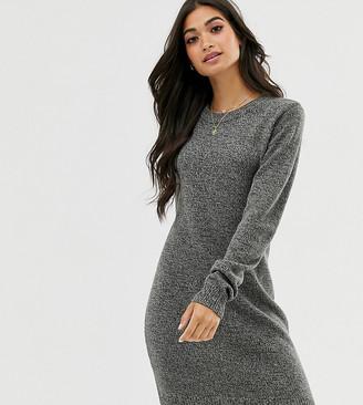 Brave Soul Petite grungy round neck jumper dress