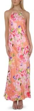Bebe Juniors' Floral-Print Halter Gown