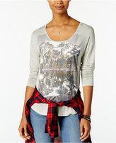 Belle Du Jour Juniors' Explore Metallic Graphic T-Shirt