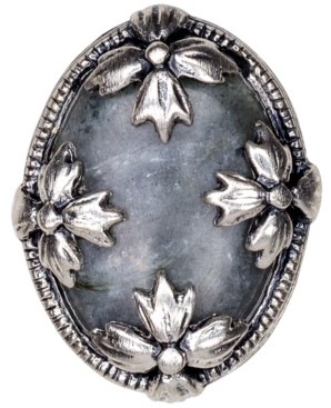 Patricia Nash Silver-Tone Floret & Gray Labradorite Statement Ring