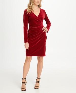 DKNY Velvet Side Ruche Sheath Dress