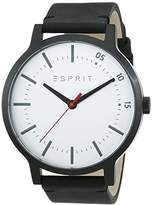 Esprit TP10827 Black Men's Quartz Watch with Silver Dial Analogue Display and Black Leather Strap ES108271003