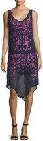 Haute Hippie Floral Threadwork Embellished Silk Dress, Midnight