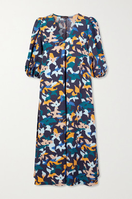 Stine Goya Net Sustain Mavelin Floral-print Cloque Midi Dress - Blue