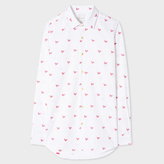 Paul Smith Men's Tailored-Fit White 'Rooster' Motif Cotton-Twill Shirt