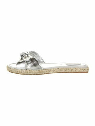 Tabitha Simmons Leather Bow Accents Espadrilles w/ Tags Metallic