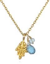 Satya Jewelry Gold Hamsa, Blue Topaz & Aquamarine Necklace