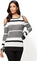 New York & Co. Cold-Shoulder Crewneck Sweater - Stripe