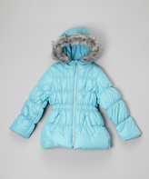 Hawke & Co Capri Turquoise Faux Fur Quilted Puffer Jacket - Girls