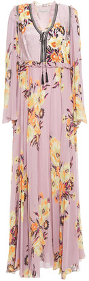 Etro Ruffle-trimmed Floral-print Jacquard And Silk Crepe De Chine Maxi Dress
