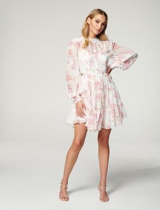 Forever New Kai Balloon Sleeve Dress - Antique Blush Floral - 10