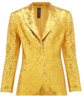 Norma Kamali Single-breasted Sequin Blazer - Womens - Gold