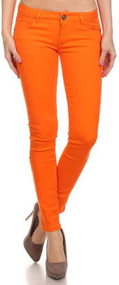 Couture Miss Kitty Women's Casual Pants Orange - Orange Low-Rise Skinny Jeans - Juniors