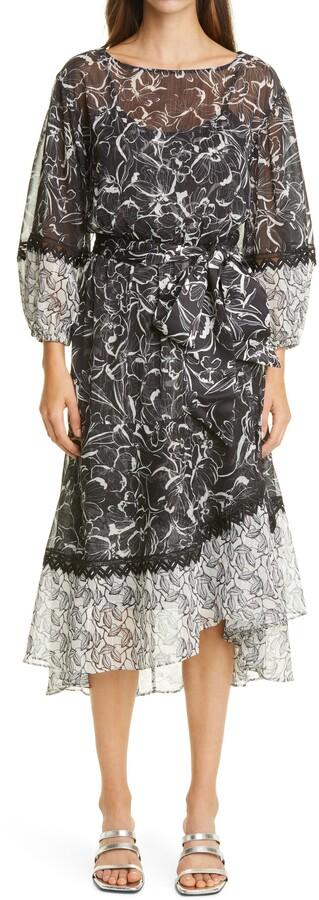 Sachin + Babi Floral Chiffon Midi Dress