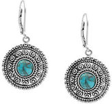 Lord & Taylor Sterling Silver and Faux Turquoise Drop Earrings