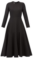 Valentino Wool-blend Midi Dress - Womens - Black