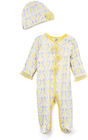 Baby Essentials Yellow & Gray Footie & Beanie - Infant
