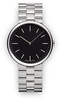 Uniform Wares M35 Quartz Watch with Black Analogue Dial with Silver Stainless Steel Strap