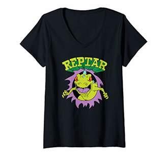 Nickelodeon Womens Reptar Attack Ripping Breaking Through V-Neck T-Shirt