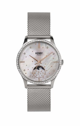 Henry London Unisex Adult Moon Phase Quartz Watch with Stainless Steel Strap HL35-LM-0329