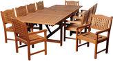 International Home Miami Mitt Eucalyptus 11-Pc Extendable Dining