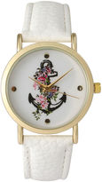 OLIVIA PRATT Olivia Pratt Womens Floral Anchor Dial White Leather Watch 15004