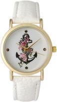 OLIVIA PRATT Olivia Pratt Womens Floral Anchor Dial White Leather Watch 15004