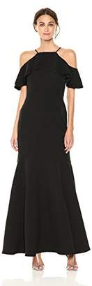 Nicole Miller Women's Ruffle Cold-Shoulder Gown