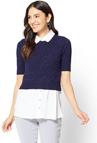 New York & Co. 7th Avenue - Crochet Twofer Top - Petite
